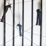 moving installation (detail) |  | ceramic, shoe polish, mirror, rope, wood  | 177 x 170 x 70 cm